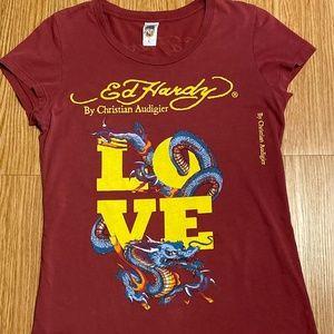 Ed Hardy LOVE/DRAGON Tee Ladies Sz. Large